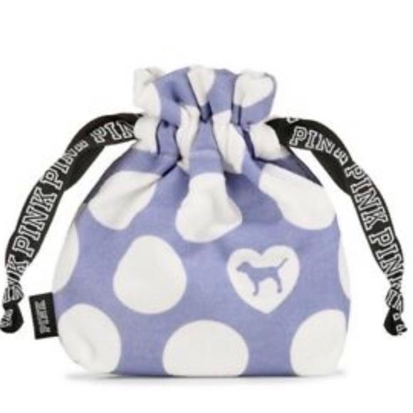 PINK Victoria's Secret Handbags - Victoria's Secret PINK Polka Dot Drawstring Pouch
